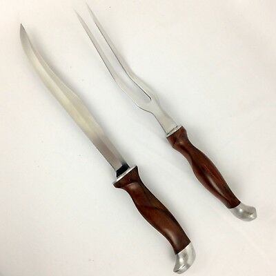 CUT CO CARVING SET 2PC Knife 1012 Fork 1013 Brown Marbled Handles Mid-Century