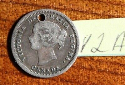 1858 Five 5 Cents Silver Canada , Canadian Silver Coin, Queen Victoria *Holed*