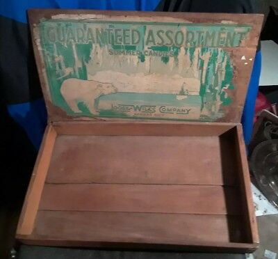 Antique Old Loose-Wiles Wood Candy Box Country Store Display Polar Bear 10x17