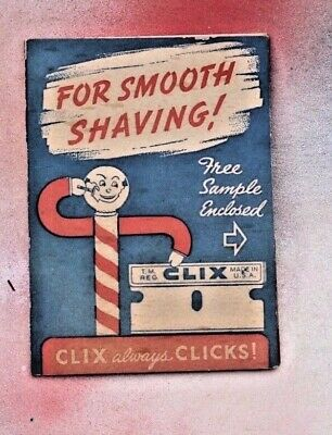 Vintage CLIX Single Edge Blades, New in wrapper Salesman Sample New
