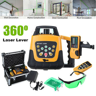 Self-leveling 360° Rotary Green Beam Laser Level 500M Range Remote Control Case