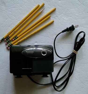 Vintage PANASONIC Electric Pencil Sharpener KP-310 Auto Stop Black W/ Pencils.