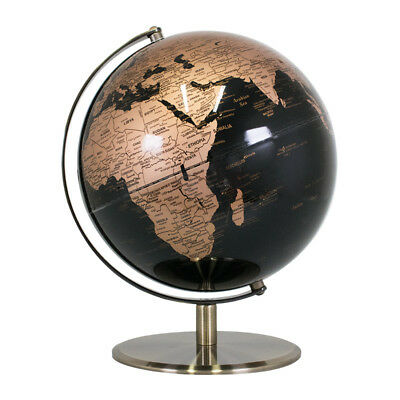 25cm Black & Gold World Globe Capitals Metal Glossy Rotating Geography Education