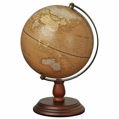 "20cm Antique Wooden Base World Globe Desktop Rotating Geography 8"" Rotating"