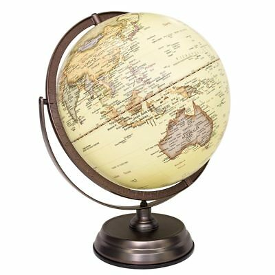 30cm Antique Full Meridian Globe Topography Desktop 4000 Places Raised relief