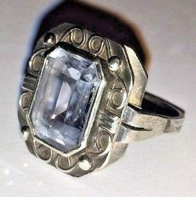 FABERGE Antique Imperial RUSSIAN Ring with Large Aquamarine  Stone, 84 silver.