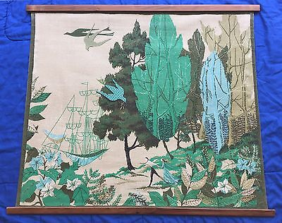 Mid Cent. Modern - Printed Tapestry Textile Art - Breton Fabrics N.Y.C by Mereen