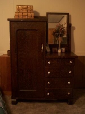 Antique Chifferobe (Closet & dresser combo) vintage w/Mirror Great for its age