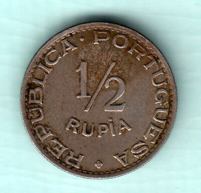 Portuguese India Goa 1947 Extremely RARE Copper Nickel 1/2 Rupee Coin J36