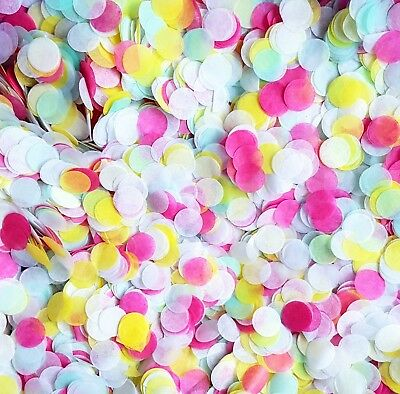 Biodegradable Confetti - White Yellow Fuschia Pink & Mint Green Bright Party Mix