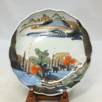 A001: Real Japanese OLD IMARI fine painted porcelain NAMASU plate w/landscape