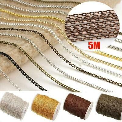 5m Various Colors Cable Open Link Iron Metal Chain Jewelry Making-AW