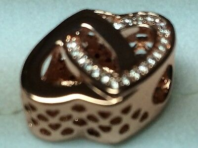 3f9ac970b New Authentic Pandora Rose Gold Entwined Love Charm # 781880CZ Stamped ALE R