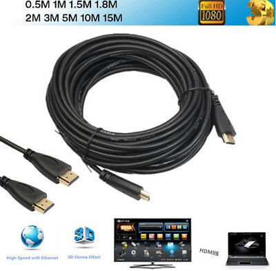 High Speed 1080P 1M 2M 3M 5M 10M 15M HDTV PS3 3D HDMI Cable V1.4 Connection New