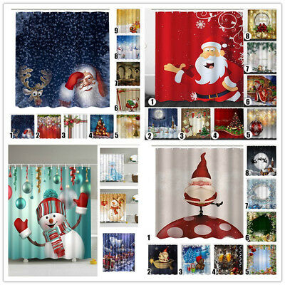 Christmas Decor Waterproof Bathroom Fabric Shower Curtain Snowman Santa 12 Hooks