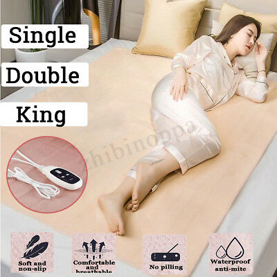 Luxury Soft Electric Blanket Heated Under Single Double King Bed Warm Mattress