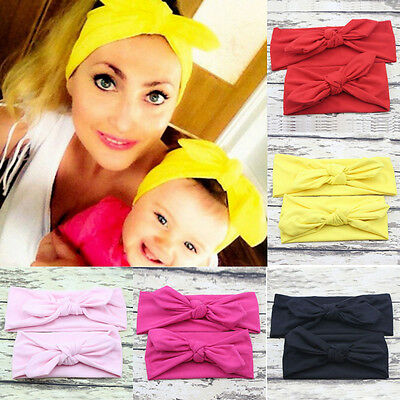 2pcs Mom Baby Mother Daughter Women Elastic Bow Knotted Turban Headband Headwear