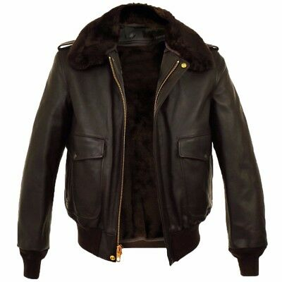 Fashion B3 Bomber Real Leather RAF Winter Warm Brown Faux Fur Men's Style Jacket