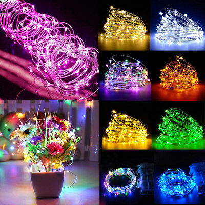 50/100 Led Battery Micro Rice Wire Copper Fairy Strings Lights Christmas Party #