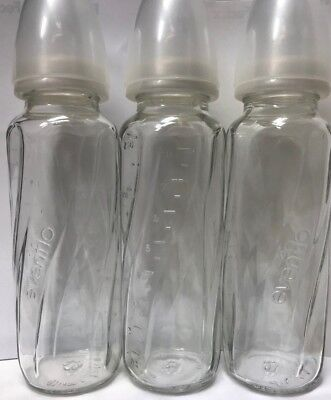 3 Pack Evenflo 4 oz or 8 oz Twist Classic Real Glass Baby Bottles BPA Free NEW