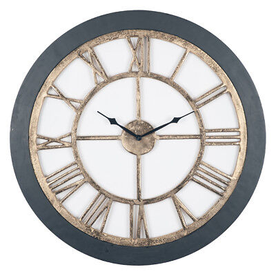 Large Black Wood With Antique Brass Coloured Metal Skeleton Roman Numerals Clock