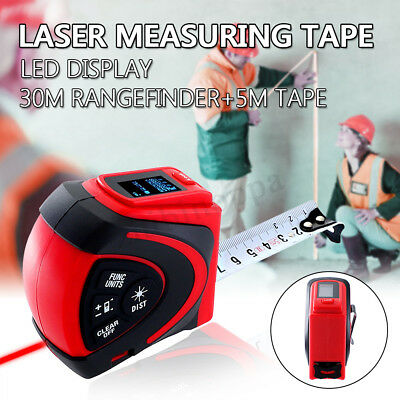 Digital LED Laser Measuring Tape Distance Meter 30M Rangefinder+5M Measure Tape