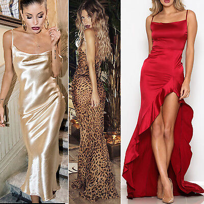 Women Silky Evening Maxi Dress Long Sparkle Slit Xmas Party Prom Ball Wedding NY