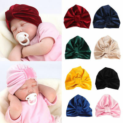Toddler Kids Baby Boy Girl Bow Knot Turban Cotton Velvet Beanie Hat Headband Cap