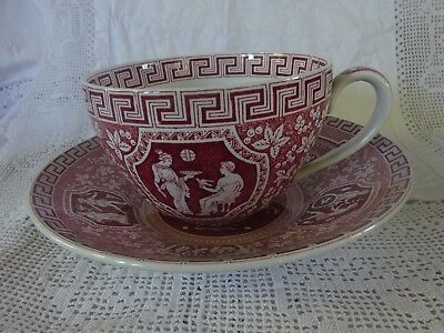 Jumbo Sized Spode Cup and Saucer, Pink 'Greek' Design