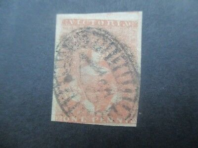 Victoria Stamps: 1d Red Half Length Used - Rare   (v117)