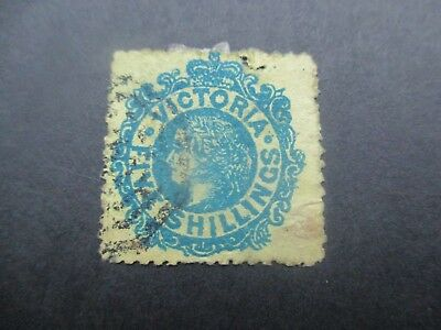 Victoria Stamps: 5/- Blue and Yellow Used - Rare   (v121)