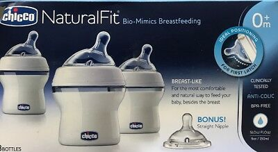 New Baby Chicco NaturalFit Newborn 5 Ounce Bottles Newborn Flow Nipples (3-Pack)