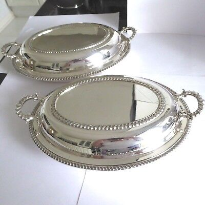 Vintage Silver Plate Two Entree Dishes - Gadrooned Decoration 1 Stamped Asprey