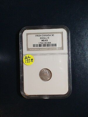 1902H Canada Five Cents NGC MS63 SMALL H SILVER 5C Coin PRICED TO SELL!