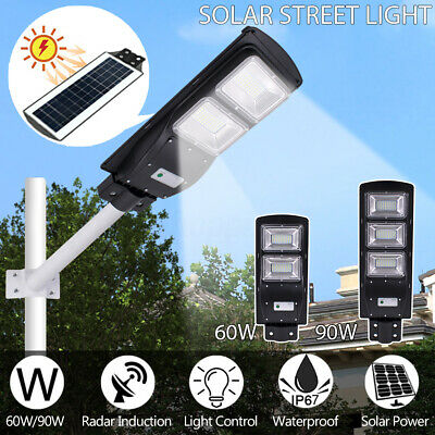 60W/90W Solar Street Light PIR Motion Sensor Outdoor Garden Path Wall Road Lamp