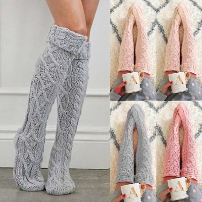 3b9c0a0a7 2018 Womens Winter Cable Knit Over Knee Long Boot Thigh-High Warm Socks  Leggings