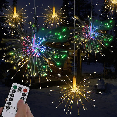 Hanging Firework LED Fairy String Light Christmas Party Decor Xmas 8Modes Remote