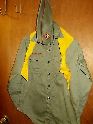 Vintage Boy Scout BSA Uniform Olive Green       Shirt Long Sleeve, Hat, Scarf,