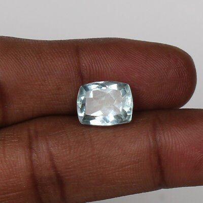 5.60 Ct. Natural Aquamarine Greenish Blue Color Cushion Cut Loose Certified Gem