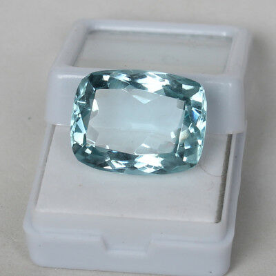 22.60 Ct. Natural Aquamarine Greenish Blue Color Cushion Cut Loose Certified Gem