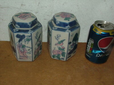 2X Chinese Kangxi 19th Century Hand Painted Blue & White Ginger Tea Jars Signed