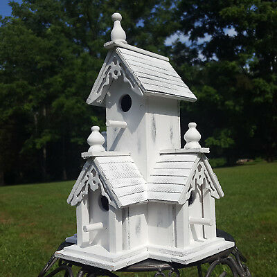 BIRDHOUSE Shabby Distressed White Wood Victorian Bird House w/Clean Out Hole NEW
