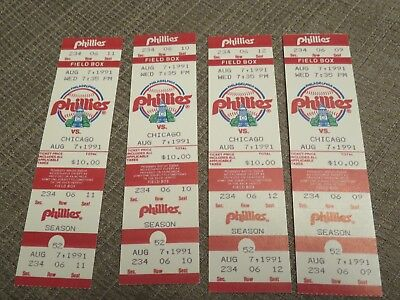 FOUR (4) CHICAGO CUBS vs. PHILADELPHIA PHILLIES TICKETS from August 7, 1991