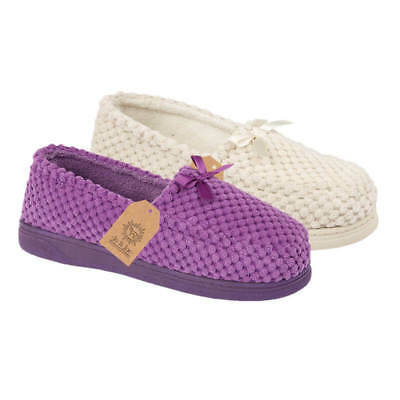 Ladies- Womens Cream / Lilac  Luxury - Moccasin -Slip On -Slippers -Size 345678