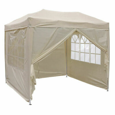 BEIGE FOLDING POP UP GAZEBO 2.5M x 2.5M MARQUEE CANOPY PARTY WEDDING TENT WIDO