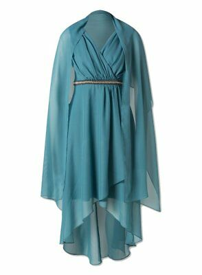 Brand New Ex Yessica Turquoise Empire Party Dress with Stole Scarf 8-20