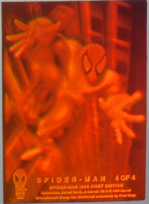 """Spider-Man 1994 First Edition 3-D HOLOGRAM """"Chase Card"""" #4 of 4 Spider-man"""