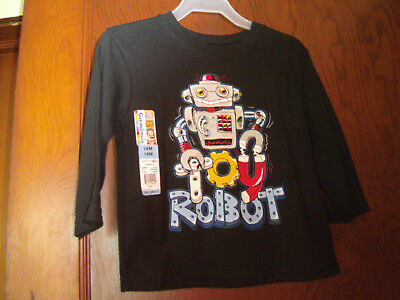 "New ""garanimals"" Baby Boys Long Sleeve Tee Shirt Size 18 Month Black"