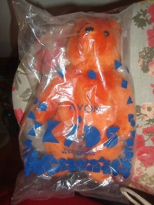 Vintage 1997 AVON Kids Full O'Beans Orange BERNARD BEAR NIP 9""