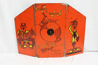 """Vintage Hand Painted Rick Rupp Music Records, Tapes Adverstising Sign. 32"""" x 23"""""""
